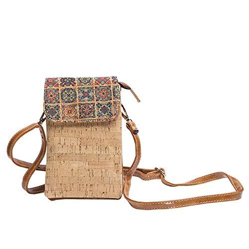Byoeko Bolso bandolera de corcho para teléfono móvil de mujer (Beige mosaico)