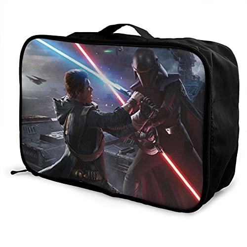 Star Mandalorian Wars - Bolsa de equipaje portátil de gran capacidad, impermeable, hecha de poliéster, con patrones de impresión elegantes y exquisitos
