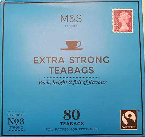 Marks and Spencer UK. Extra Strong Range Teabags 80 Bags. (1 Pack)