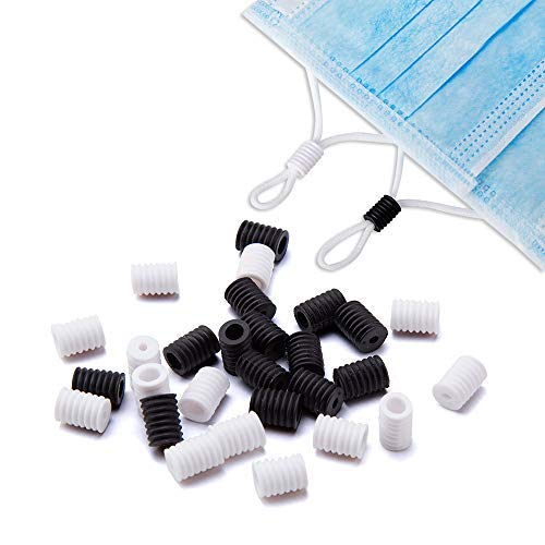 Cord Locks for Face Masks 100 PCS, Soft Plastic Rubber Cord Locks for Drawstrings, Ear Loop String Adjuster Cord Stopper (Black)