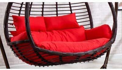 WGG rieten rotan schommelstoel kussens ei nest gevormde kussens mand kussen opknoping hangmat dubbele stoel wasbaar verwijderbaar 110 * 150cm(43 * 59inch) Rood