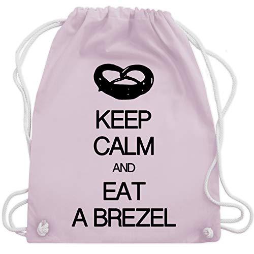 Shirtracer Keep calm - Keep calm and eat a brezel - Unisize - Pastell Rosa - dirndl rucksack - WM110 - Turnbeutel und Stoffbeutel aus Baumwolle