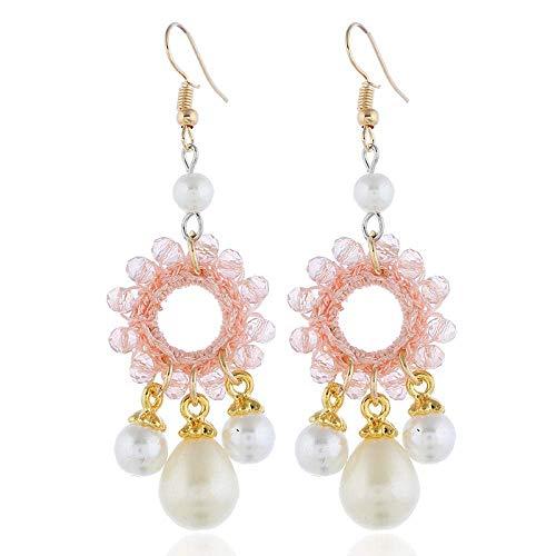 JJYGONG Pendientes de perlas de estilo pendientes a mano de tela a mano pendientes de borla femenina de perlas de joyas de pequeñas dimensiones para las mujeres Oreja Anillos para las piezas