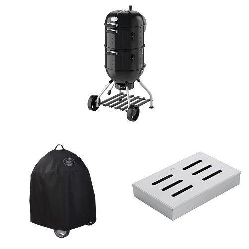 RÖSLE 25009 Watersmoker, Smoker No.1 F50-S, schwarz, 69 x 68 x 136 cm + Abdeckhaube + Räucherbox