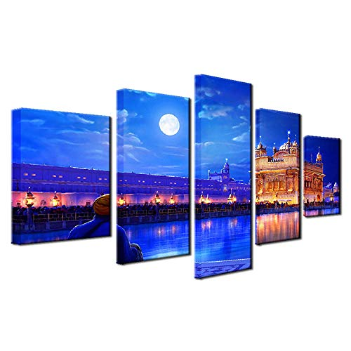 5 Piece Canvas Wall Art paintings Framed Home Decor Wall Art Modular Living Room Canvas Posters 5 Pieces Indian Golden Temple Paintings HD Printed Pictures Frame SLWLUO
