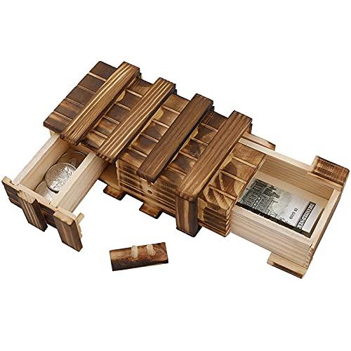 Caja con compartimentos secretos Caja madera secreta Caja mágica Caja madera souvenirs Caja regalo misteriosa para regalos cumpleaños boda para almacenar dinero, cupones, tarjetas, joyas, etc.