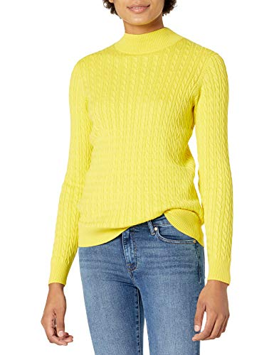 Amazon Essentials Women's Classic-Fit Lightweight Cable Long-Sleeve Mockneck Sweater, Bright Yellow, X-Small
