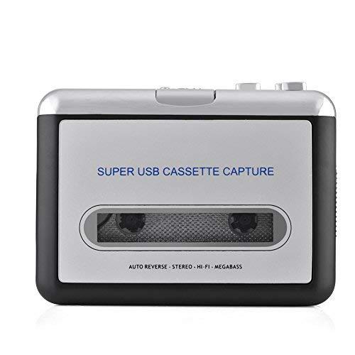 Denash Tragbar USB Kassette zu MP3 Konverter, Konvertieren Walkman Tape Kassetten in MP3/CD mit Kopfhörer, Kompatibel mit Mac und PC