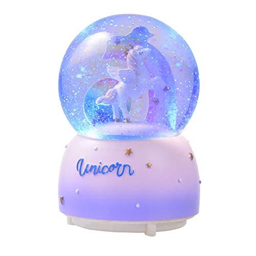 luning Globos de nieve de unicornio musicales para niñas, unicornio dormido y arco iris giratorio en el interior mientras juega música, caja de música perfecta para niñas, nietas, bebés, cumpleaños