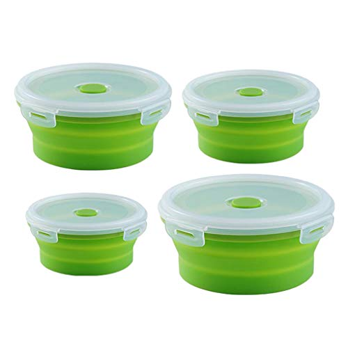 #N/A Round Food Container Storage Collapsible Camping Bowl Microwave Refrigerator - Multicolor, 1 set bowls green
