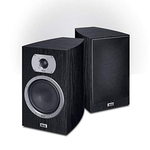 Heco Victa Prime 302 | 2 Wege Heimkino- und Stereo-Regallautsprecher | 1 Paar, Farbe:Schwarz