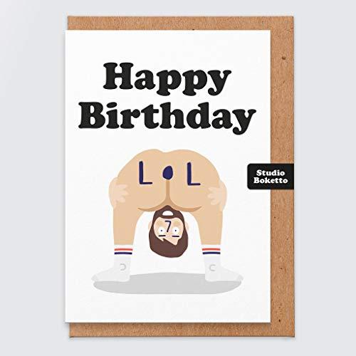 Geburtstagskarte mit Aufdruck LOL, freche Karte mit Bild eines Hinterteils, für Erwachsene, für Männer oder Frauen, Freund oder Freundin, Ehemann oder Ehefrau