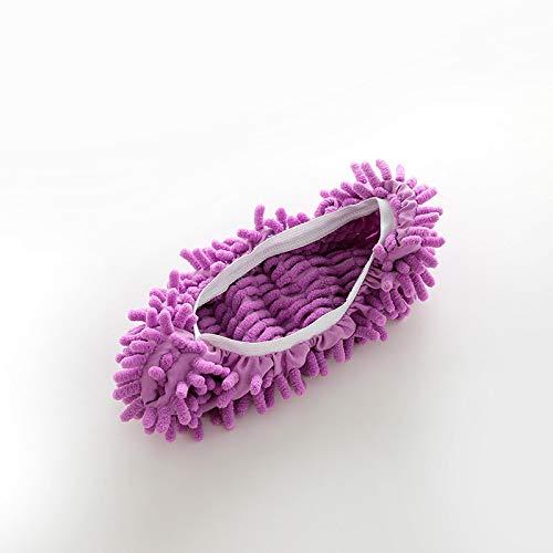 CVMW Zapatillas Mopa, Microfiber Dust Mop Shoes, para Baño, Oficina, Cocina, Casa Pulido Limpieza, For Home, 5Colors 紫色