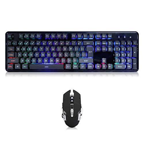 Kabelgebundene Kombination aus mechanischer Tastatur und Maus für Windows, 800/1200/1600DPI 6 Bouttons Gaming-Maus, RGB Buntes LED-Licht 26 Tasten ohne Eile, QWERTZ-Layout