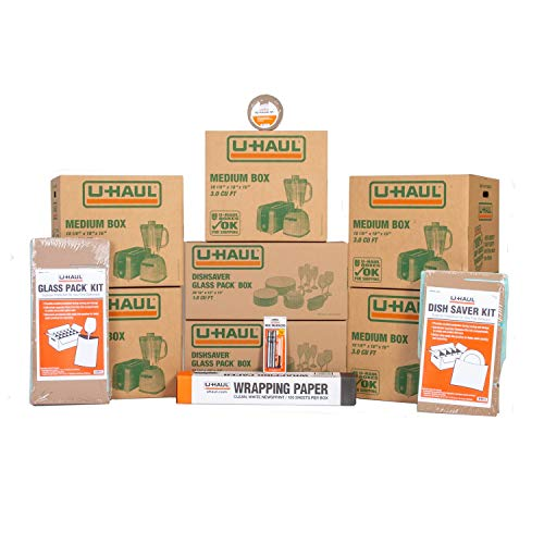 U-Haul Kitchen Moving Kit – Includes 1 Dish Packing Kit 1 Glass Packing Kit 5 Medium Boxes Packing Paper Cushion Foam Tape 2 Box Markers and 1 Box Knife