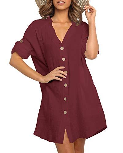 YOINS jurk dames knielange lange mouwen elegante blouse-jurk herfst tuniekjurk winterjurk V-hals hemdjurk met riem