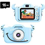 Kids Camera, Child Camera Digital 8.0MP, Mini Toy Camera for Boys Girls Gift Aged 3-10, Shockproof Play Camera 2.0 inch Screen 1080P HD Toddler Video Recorder, Dual Camera Camcorder with 16GB SD Card