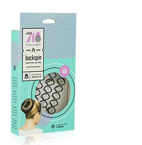 718-Beauty Backspin Spiral Hair Pin, Easy & Fast Bun Maker Twist Screws - Hair Pin for Women, Updo Hair Accessories - Color Match for Dark Hair, 4 Pins