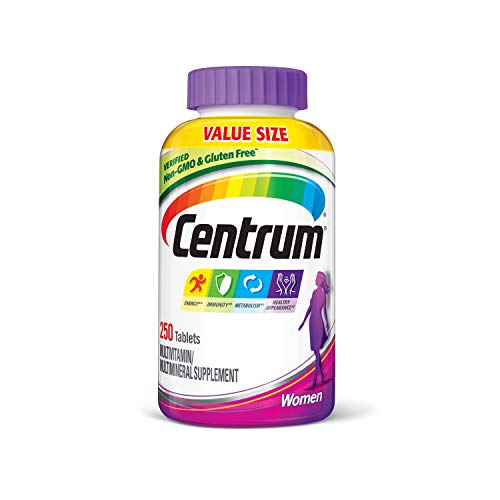 250 count supply of Centrum Multivitamin for Women, Multivitamin/Multimineral Supplement with Iron, Vitamins D3, B and Antioxidants Women's multivitamin with iron and antioxidants to support energy, immunity and metabolism Metabolism supplement conta...
