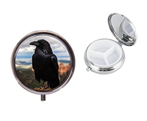 Raven Crow On A Round Travel - Pastillero de metal, ideal para regalo de cumpleaños X71
