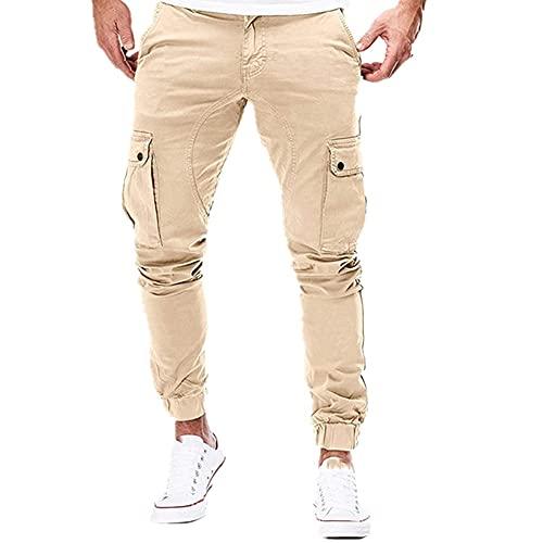 N\P Men Joggers Pants Solid Color Cargo Military Sweatpants Multi-Pocket Spring