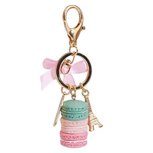 LoveAloe Creative Macarons Kuchenform Schlüsselbund Schlüsselanhänger für Frauen Tasche Charme Anhänger Zubehör, Grün