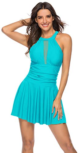 Heat Move Women's One Piece High V Neck Mesh Ruched Swimdress Tummy Control Bathing Suit(Blue,XS)
