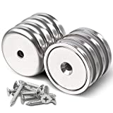 Super Power Rare Earth Cup Magnets, 95 LBS Holding Force, 1.26 inch x 0.236 inch Diameter, Industrial Strength Round Base Neodymium Magnets, Countersunk Hole for Home, Kitchen, Workplace, Pack of 8