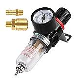Regulador de Presion de Compresor 1/4', Filtro Compresor Aire, Filtro Agua Para Aire Comprimido, Filtrar la Humedad, Limpiar y Secar el Aire, Proteger las Herramientas de Aire Comprimido