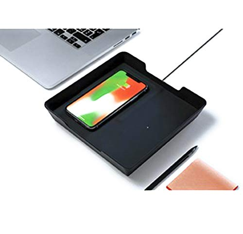 Eggtronic Wireless Charging Valet Tray for Smartphone, Gray & Black