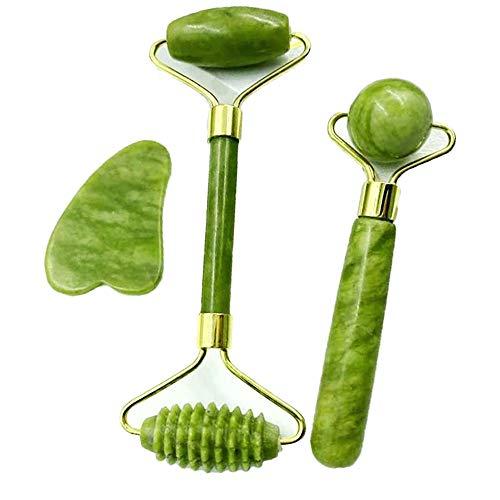Rouleau de jade,Pierres de massage,Jade Roller, Facial Massager Jade Roller, avec 2 spatules de jade, anti-âge, adaptées à la peau du visage et du cou