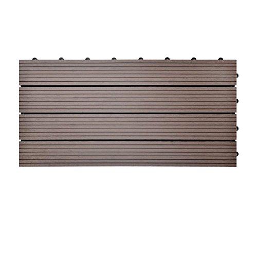 SIENOC Terrassen-Fliese aus WPC Kunststoff, Einzelfliese, Garten-Fliese,Balkon Bodenbelag mit Drainage Unterkonstruktion (30x60 cm, Neu Hellbraun)