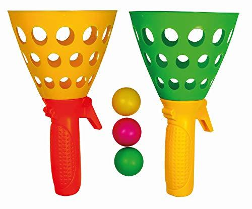 Paul Günther 1546 - Mc Squeezy Click\'n\'Catch, Fangball-Spiel für Kinder mit 2 Korb-Fängern und 3 Kunststoffbällen