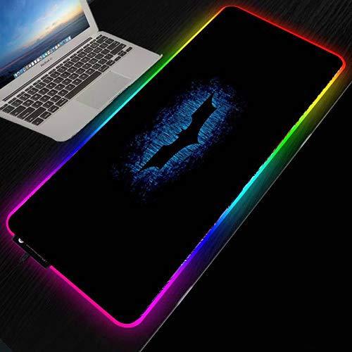 Batman Logo grande lumière LED RGB tapis de souris de jeu étanche USB filaire Gamer tapis de souris tapis de souris 7 couleurs éblouissantes pour ordinateur-30X80 CM_Épaisseur 4 MM