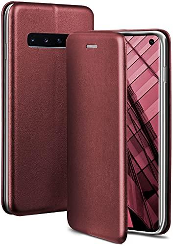 ONEFLOW Handyhülle kompatibel mit Samsung Galaxy S10 - Hülle klappbar, Handytasche mit Kartenfach, Flip Hülle Call Funktion, Leder Optik Klapphülle mit Silikon Bumper, Weinrot