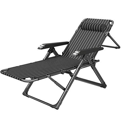 ZBBN Silla de jardín al Aire Libre Silla de jardín Plegable Tumbona con cojín de Asiento, Camping, Playa, Deck MAX.200kg - Negro