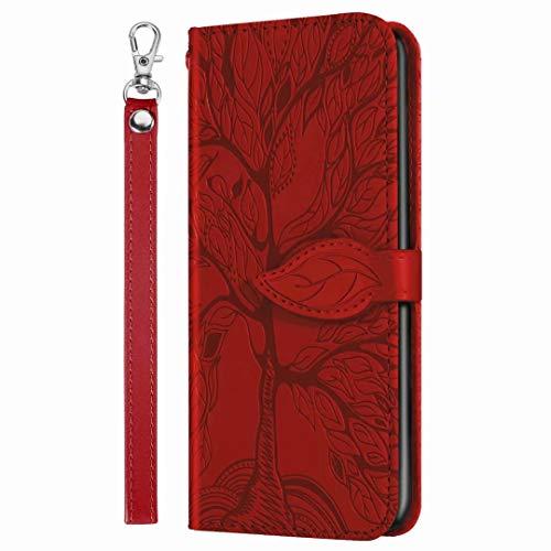 für Xiaomi Redmi Note 10 Pro/Note 10 Pro Max Handyhülle Hülle Case Cover Leder Tasche 3D Malen Muster Karikatur Tier Flipcase Schutzhülle Handytasche Skin Ständer Klapphülle Schale Bumper Mädchen rot
