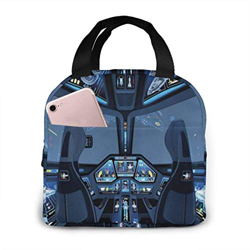 Portable Lunch Bag Oxford Carry Tote Outer Space Shuttle Cockpit Cabin Flight Insulated Gourmet Lunchbox Insulating Handbag