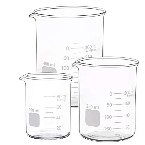 FreeBiz Borosilikatglas Messbecher Set Becherglas mit klare Ausguss 100ml 250ml 400ml Laborglas für Labor