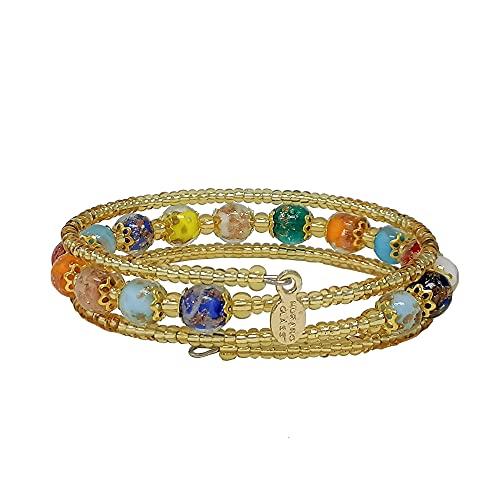 Sospiri Venezia - Pulsera para mujer con 16 perlas de cristal diámetro 8 mm original de Murano -...
