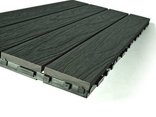 Dura Deck Fliesenresistenz | 6 x doppelte Länge Verbundfliesen 605 mm x 305 mm x 25 mm (1,10 m2) pro Box | Solides WPC ineinandergreifend wasser- und UV-beständig | Schnelle Installation | Kieselgrau