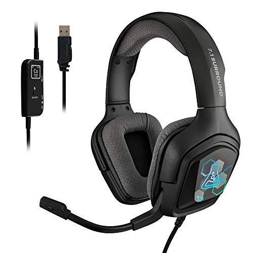 THE G-LAB Korp Cobalt 7.1-7.1 Surround-Sound-Gaming-Kopfhörer - Hochwertiges Audio-Gaming-Headset, RGB-Hintergrundbeleuchtung, Flexibles Mikrofon, Leicht und Komfortabel, Kompatibel mit PC PS4 PS5