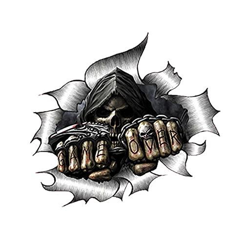 AMZYY Pegatinas de Coche 2PS 3D Single Metal Rip Open Grim Reaper Skull Sticker, JDM Race Van Bike Drift Sticker Accesorios de Coche