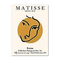 マティスポスター抽象的なキャラクターフェイスラインレトロプリントモダンウォールアート北欧のキャンバス絵画リビングルームの装飾写真50x70cmx1フレームなし