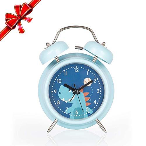 Jungen Wecker, stille Uhr mit Nachtlicht und lautem Wecker, einfach einzustellen und batteriebetrieben, Cool Dinosaur Twin Bell Clock Dekorativ für Jungen, Studenten Schlafzimmer-Blau