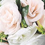 pack of 2 fake flower balls, 11 stem bunch of silk roses wedding table decoration flowers for wedding/party centerpiece road lead home decor (champagne & white)