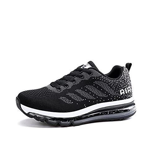 Zapatillas Running Hombre Mujer Deportivas Air Zapatos Deportivos Transpirables Sneakers Calzado Deporte Correr Gimnasio Aire Libre Tenis Asfalto Negro Blanco 833NegroBlanco 35