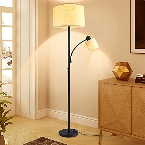 Depuley 2 Head Mother and Child Standing Floor Lamp,3000k Warm White, Black Iron Reading Floor Lamps, Eye-Care Floor Light for Living Rooms, Bedrooms, Office, Modern Pole Light with 2* LED E27 Bulbs