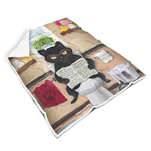 Ainiteey Leest van de zwarte kat knuffelig bont bankdeken voor kamer, herfst, winter, lente, voor alle mensen, prachtige stijl