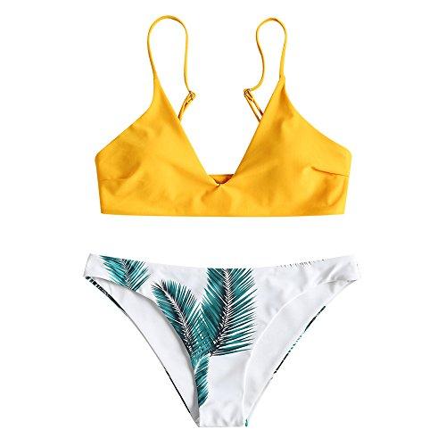 ZAFUL Damen Bikini Sets, Push-Up Spaghettiträger Bikini Obertiel Hoher Bund Pflanzenmuster Badehose Sommer,Gelb-b,M